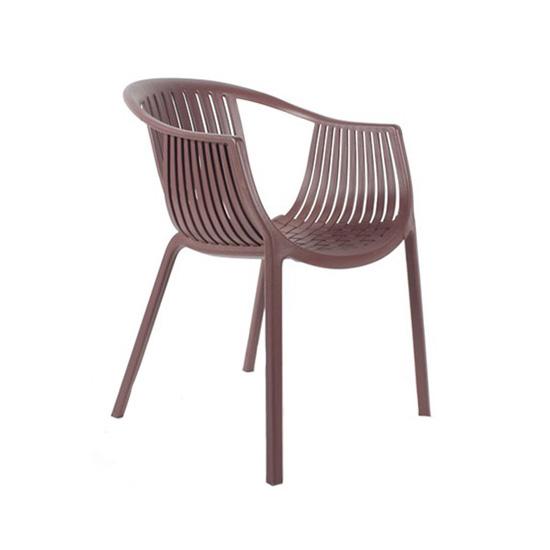 4086 chocolate Silla de Poliamida 4086. Diseño semejante a una canasta, asiento y respaldo de una sola pieza, apta 100% para exteriores. Medidas 60cm x 65cm x 77cm de alto. Colores: Blanco, Beige y Chocolate.