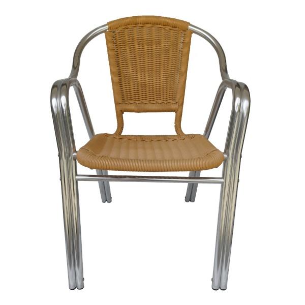 DC 06204 2 Silla de Aluminio Tejida DC-06204 para Restaurante. Fabricada completamente en Aluminio y terminada en Tejido de Polietileno de alta resistencia tipo Rattan. Diseño de Doble Tubo. Gracias a la naturaleza del aluminio, esta silla es apta para Intemperie. Pero igualmente luce formidable en Interiores. Ideal para Terrazas, Bares y Cafeterías.