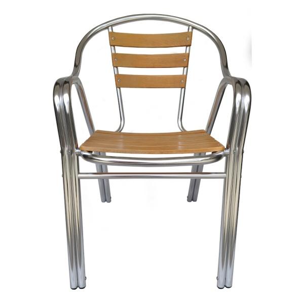 DC 06309 2.jpg09 La Silla de Aluminio y Madera DC-06309 para restaurante y cafeterías, se fabrica completamente en aluminio. Tiene un diseño de doble tubo que le agrega gran fortaleza. Su asiento y respaldo son terminados en Madera Natural. Esta silla es apta para interiores y exteriores Cubiertos y es ideal para Terrazas, Bares y Cafeterías.  Regresar a Sillas de Aluminio