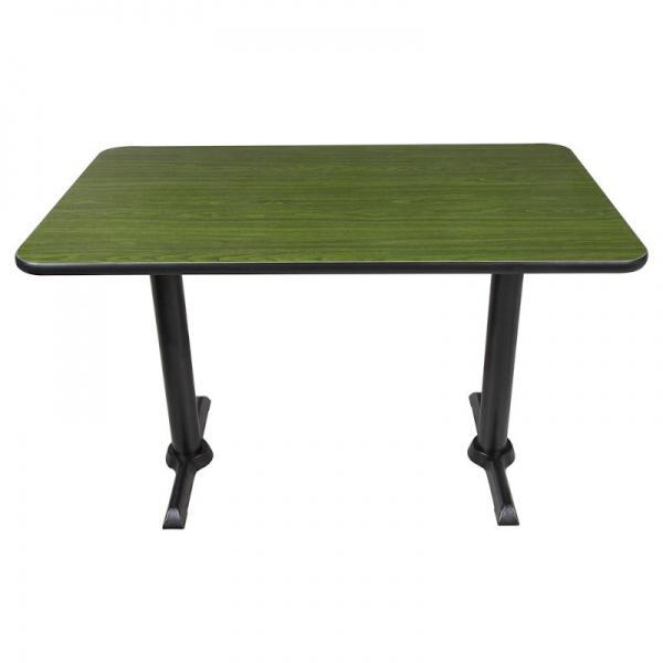 Mesa para Restaurante Rectangular con base doble de hierro MERECCP-BLCH-12080