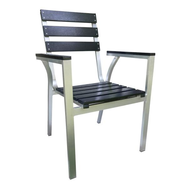 PWC 307 1 Silla de Aluminio y Polimadera PWC-3071 para Restaurante. Fabricada completamente en Aluminio con Asiento y Respaldo de Poliamida Imitación Madera (Polimadera). Gracias a la naturaleza del aluminio y la Polimadera, esta silla es apta para Intemperie. Pero igualmente luce formidable en Interiores. Ideal para Hoteles, Restaurantes, Terrazas, Bares y Cafeterías.