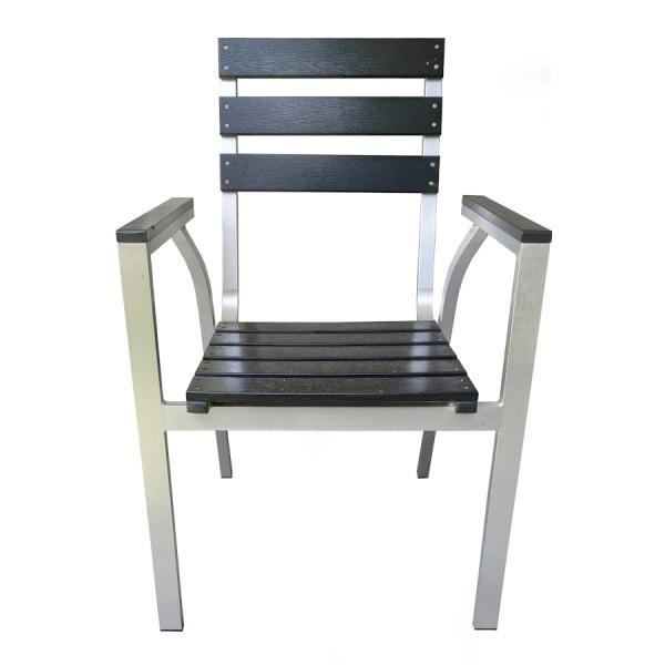 PWC 307 2 Silla de Aluminio y Polimadera PWC-3071 para Restaurante. Fabricada completamente en Aluminio con Asiento y Respaldo de Poliamida Imitación Madera (Polimadera). Gracias a la naturaleza del aluminio y la Polimadera, esta silla es apta para Intemperie. Pero igualmente luce formidable en Interiores. Ideal para Hoteles, Restaurantes, Terrazas, Bares y Cafeterías.