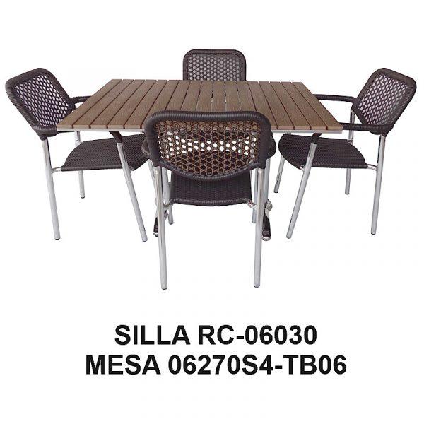 Silla de Aluminio Tejida RC-06030 y Mesa 06270S4-TB06