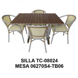 Silla de Aluminio Tejida TC-08024 y Mesa 06270S4-TB06