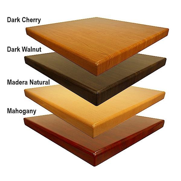 colores resina rt201 Mesa de Resina RT201-TB05SS-80 Cuadrada de 80x80 cms. Esta Mesa con Cubierta de Resina terminada en Poliester al alto brillo le encantará a sus comensales. Además gracias a la naturaleza de sus materiales puede ser utilizada en Interiores y Exteriores. Base de Cruz en Acero Inoxidable TB05SS. Apta para Exteriores. Colores disponibles: Madera Natural, Dark Cherry, Mahogany, Dark Walnut, Zebrano y Bicolor.  Medidas para este modelo: 60X60, 70X70, 80x80 y 90x90 cms.  * Cierta selección de colores para entrega inmediata en este modelo. Pregunte por existencias, tiempo de entrega y otras medidas.