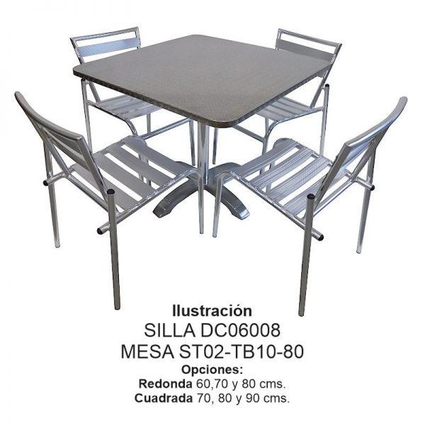 Silla de Aluminio DC-06008 mesa st02-tb10 para restaurante y terraza