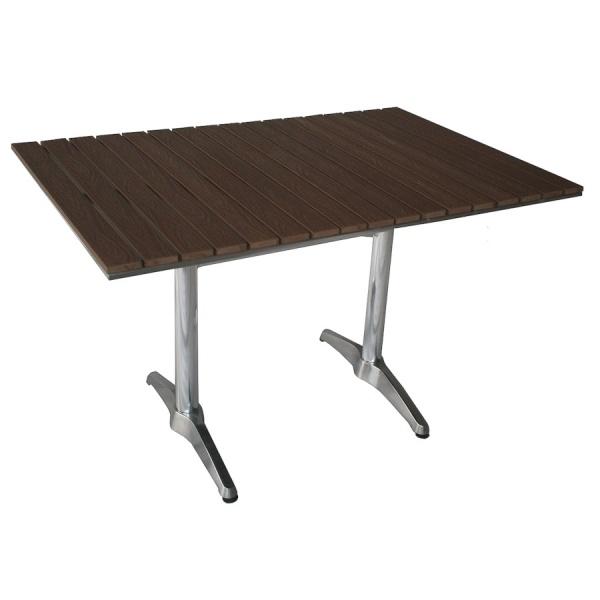 dt 06270S4 tb03 chocolate diag Base de Mesa de Aluminio TB03. Base para mesa rectangular con Doble Pedestal para 4 Personas. Ideal más no exclusiva para servicio en Restaurantes, Cafeterías y Terrazas. Fabricada completamente en Aluminio. Por lo tanto esta Base para Mesa Rectangular encaja perfectamente con cualquier tipo de Cubierta. Tanto para Interiores así como para Exteriores. *Esta Base también puede solicitarse para cualquiera de las Mesas mostradas en nuestro sitio web. * Modelo de Entrega Inmediata.