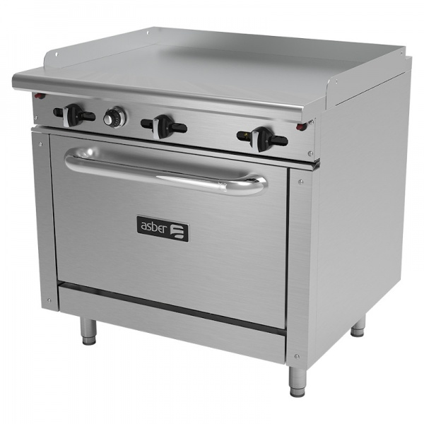 Plancha con horno para cocina industrial aer-g36-36-h