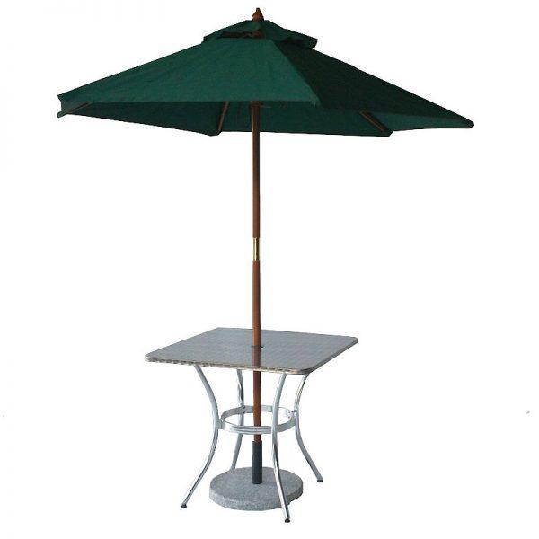 mesa de aluminio y acero para exteriores de restaurante