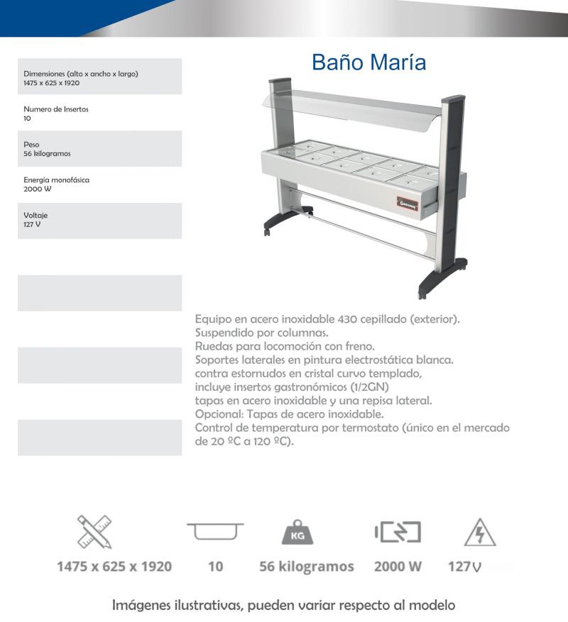 Baño María Autoservicio BME10S Electrico Especificaciones